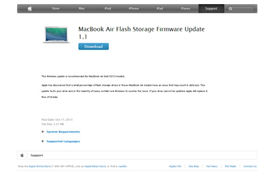 MacBook Air Flash Storage Firmware Update 1.1